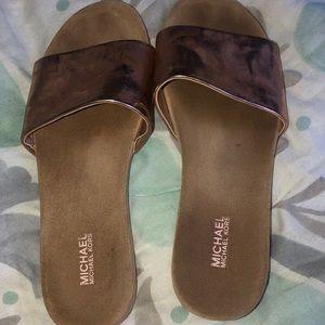 MK rose gold sandals